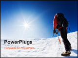 PowerPoint Template - Mountaineer reaching the top of a snowcapped mountain peak. Horizontal frame.