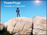 PowerPoint Template - a hiker stands alone after reaching the top of a large granite mountain