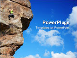 PowerPoint Template - Young smiling woman climbing a sandstone rock