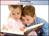 PowerPoint Template - Little boy and girl read a big book.