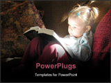 PowerPoint Template - Little girl reading Bible with sunlight reflecting off book back onto her face.