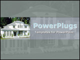 PowerPoint Template - Delightful white country mansion with french windows  set on soft grey background