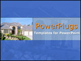 PowerPoint Template - Delightful suburban home with sloping green lawns  set in a delightful indigo