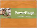 PowerPoint Template - Rich warm template: looking onto a brick and timber home and its front lawn
