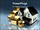 PowerPoint Template - Two-story home surrounded by an assortment of large open cardboard boxes on a reflective surface.