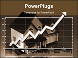PowerPoint Template - Rising data chart over top of a model of a simple house on a reflective background.