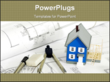 PowerPoint Template - Miniature house with various drafting items and plans.