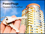 PowerPoint Template - real estate concept. keys in fingers with building