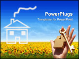 PowerPoint Template - Golden key in hand. New house on the background. Buying house concept.