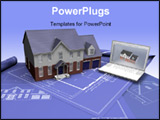 PowerPoint Template - 3D render of a house on blueprints with laptop