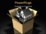 PowerPoint Template - 3d illustration of a two-story house sitting inside of a large cardboard box on a dark background