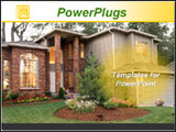 PowerPoint Template - ew modern american house and pretty flower garden. Ideal for real estate, property, mortgage presen