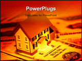 PowerPoint Template - miniature house and mortgage bonds with creative lighting
