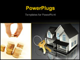 PowerPoint Template - 3d illustration of a house with a set of brass keys on a keyring sitting in front of it