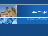PowerPoint Template - his blue template with a modern house and a couple meeting with the real estate agent is a good cho