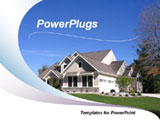 PowerPoint Template - View of a newly completed house on top of the hill with wave design