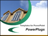 PowerPoint Template - his template with a house top showing two windows and sky with clouds at the white background will