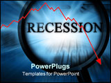 PowerPoint Template - recession on a blue background with a magnifier