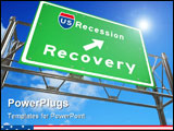 PowerPoint Template - A green freeway sign against white background with the words US Recession - Recovery