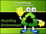PowerPoint Template - A cute friendly Recycle Boy say hello to you.