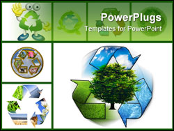 PowerPoint Template - Clean environment - conceptual recycling symbol ang green tree