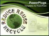 PowerPoint Template - reen plant globe and three ecological phrases - reduce-reuse-recycle with superimposed paper cuttin