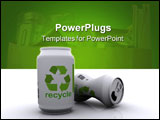 PowerPoint Template - 3DS Max image of two aluminium cans with recycle labels printed on them
