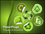PowerPoint Template - Set of green labels badges and stickers with recycle icons