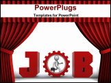 PowerPoint Template - 3d rendering conceptual image Theatre style red curtains.