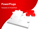 PowerPoint Template - 3d image of a incomplete jigsaw with a red piece isolated on white