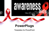 PowerPoint Template - Red Support Ribbon on white background with copy space