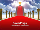 PowerPoint Template - Ladder with a red carpet. Gold columns with a circuit