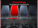 PowerPoint Template - one red chair among group the grey chairs
