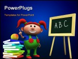 PowerPoint Template - d rendering/illustration of a cute cartoon girl with red pigtails in front of a blackboard raising