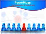 PowerPoint Template - Row of pawns isolated on white background