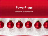 PowerPoint Template - red christmas ornaments on white swirl background