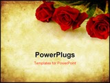 PowerPoint Template - Valentines Day background combining red roses with sandstone and paper grunge textures.