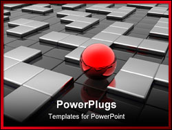 PowerPoint Template - Red sphere in silver labyrinth? 3d illustration
