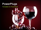 PowerPoint Template - wine glass with red wine and red grapes