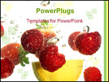 PowerPoint Template - Splash of fresh fruit to water with bubbles of air