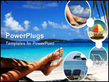 PowerPoint Template - woman with sandy feet relaxing on a tropical beach in the caribbean