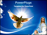 PowerPoint Template - Dove in the air with wings wide open in-front of the sun