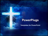 PowerPoint Template - bright glowing cross in the clouds on a blue background