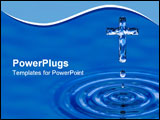 PowerPoint Template - Blue water ripple as Cross - religious metaphor