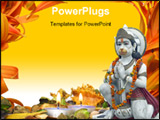 PowerPoint Template - urgiana Hindu Temple. Marble statue of the Monkey God Hanuman garlanded in orange flowers. Amritsar