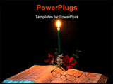 PowerPoint Template - candle gently lighting a bible