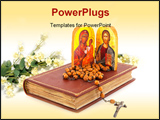 PowerPoint Template - Greek orthodox religion with icon bible and rosary