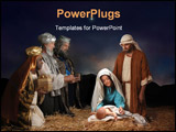PowerPoint Template - Christmas nativity scene with three Wise Men presenting gifts to baby Jesus Mary & Joseph