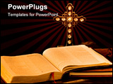 PowerPoint Template - intage antique religous items painted with light. missionary items including a bible journal suitca