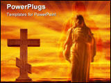 PowerPoint Template - Photo of jesus figure spotlighted and glowing in the sky.